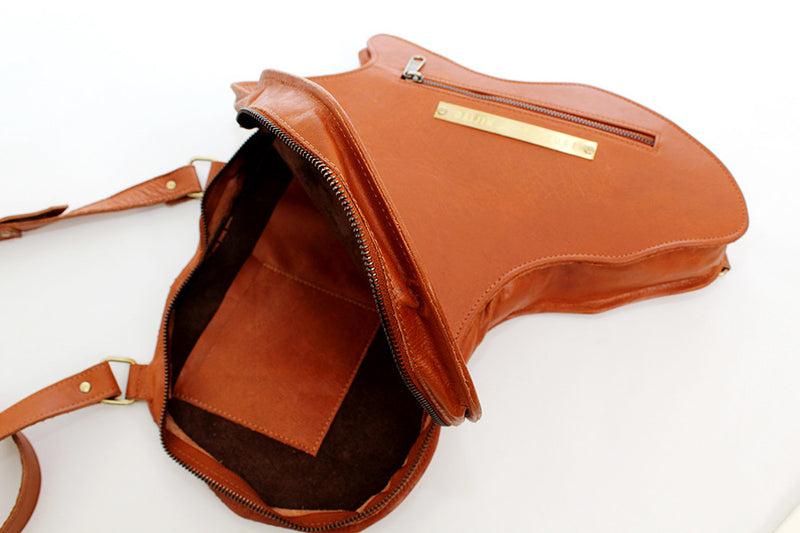 Africa Shaped Bag / Backpack- Brown Leather (M) | Alkebulan Collection . - by Orijin Culture