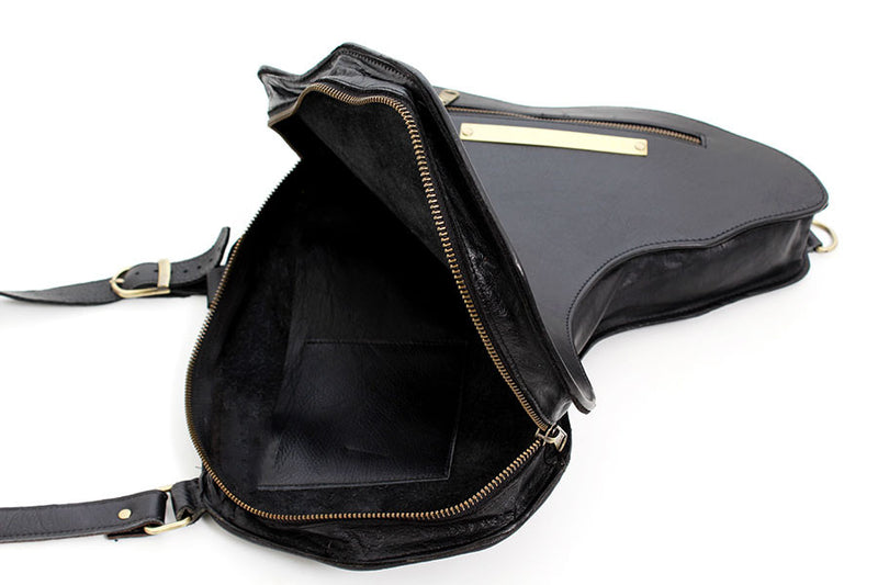 Africa Bag / Backpack - Black Leather (L) | Alkebulan Collection - by Orijin Culture
