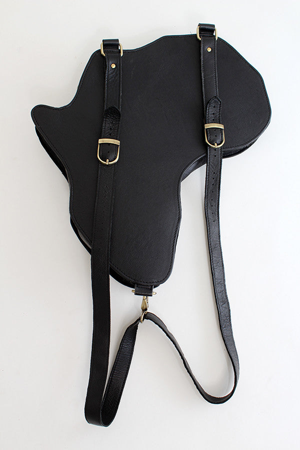 Africa shaped Bag / Backpack- Black Leather (L) | Alkebulan Collection ... - by Orijin Culture