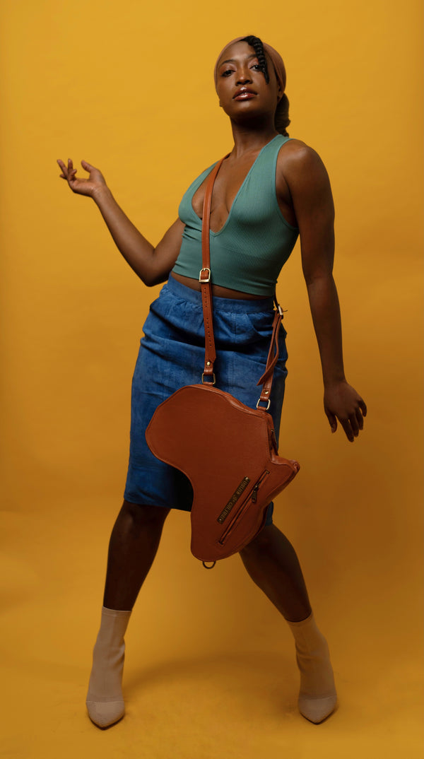 Africa Shaped Bag / Backpack- Brown Leather (M) | Alkebulan Collection . - SHOP | Orijin Culture