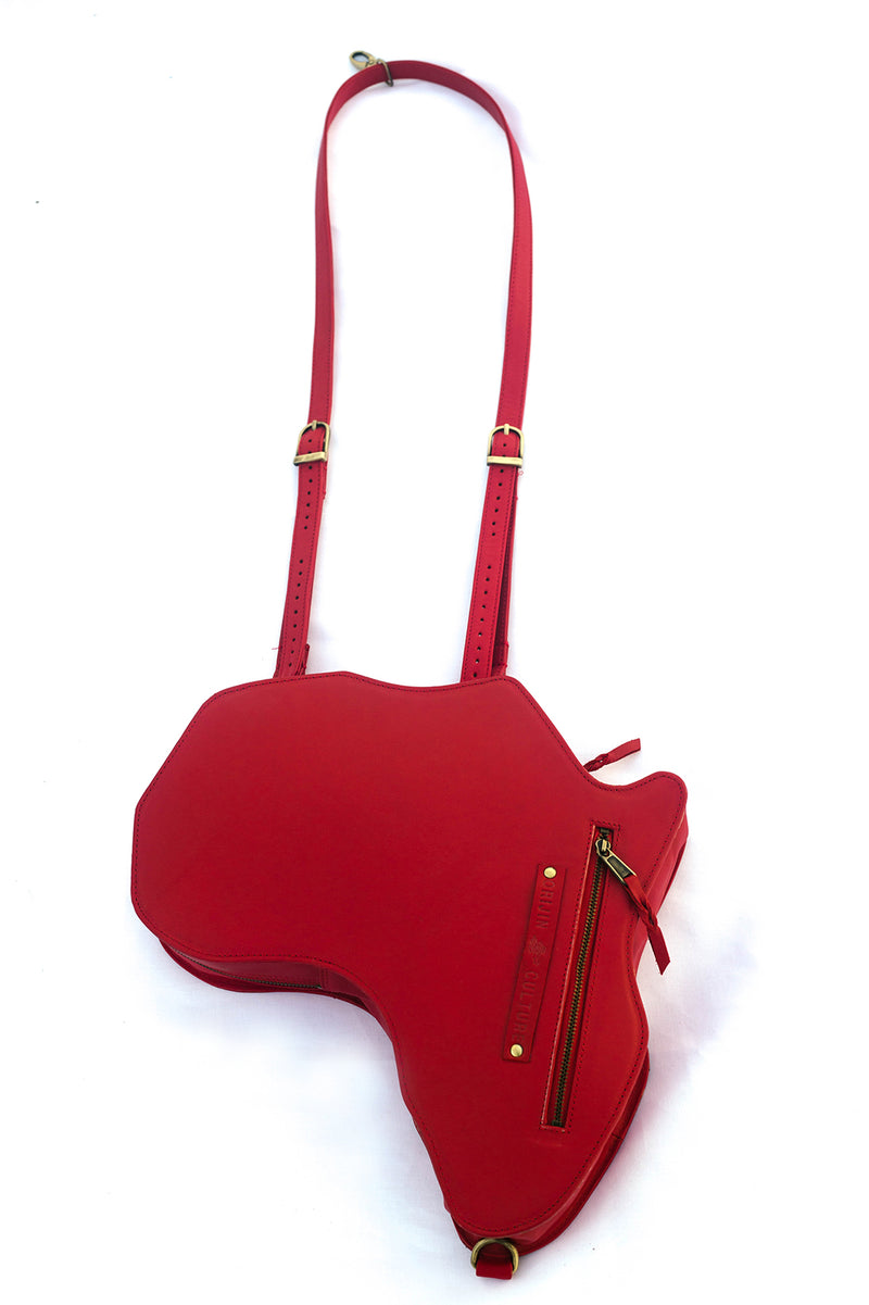 Africa Bag / Backpack- Red Leather(M) - SHOP | Orijin Culture