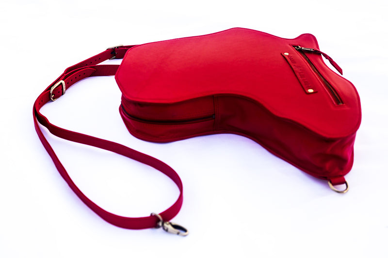 Africa Bag / Backpack- Red Leather(M) - by Orijin Culture