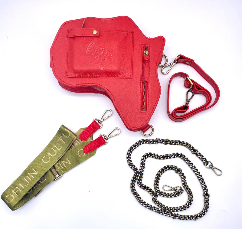 Africa Fanny Pack/ CrossBody Bag - Red Leather - SHOP | Orijin Culture