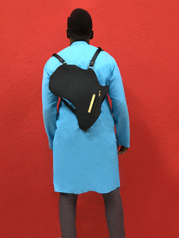 Africa Bag / Backpack- Black Leather (L) | Alkebulan Collection .. - by Orijin Culture