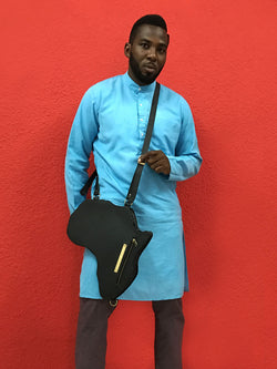 Africa Bag / Backpack- Black Leather (L) | Alkebulan Collection .. - SHOP | Orijin Culture