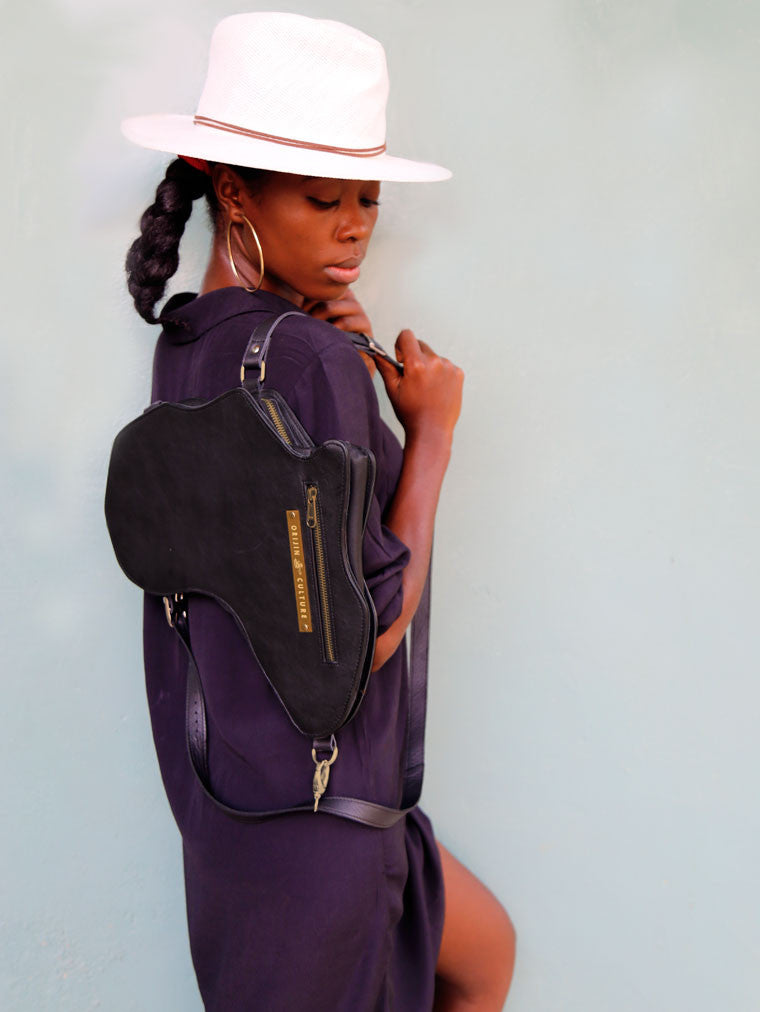 Africa Bag / Backpack - Black Leather (M) | Alkebulan Collection . - by Orijin Culture