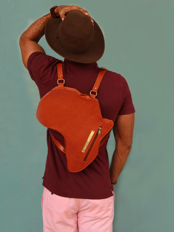 Africa Bag / Backpack- Brown Leather (L) | Alkebulan Collection - by Orijin Culture