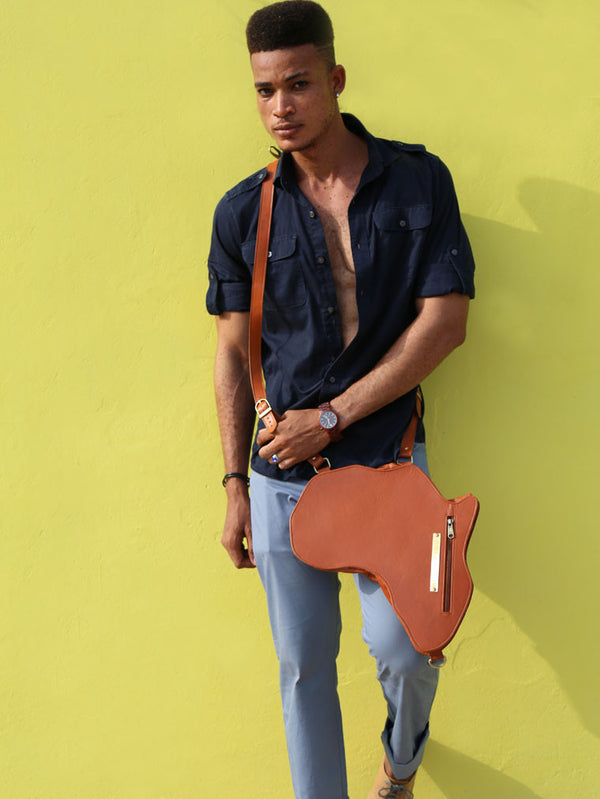 Africa Bag / Backpack - Brown Leather (L) | Alkebulan Collection - SHOP | Orijin Culture