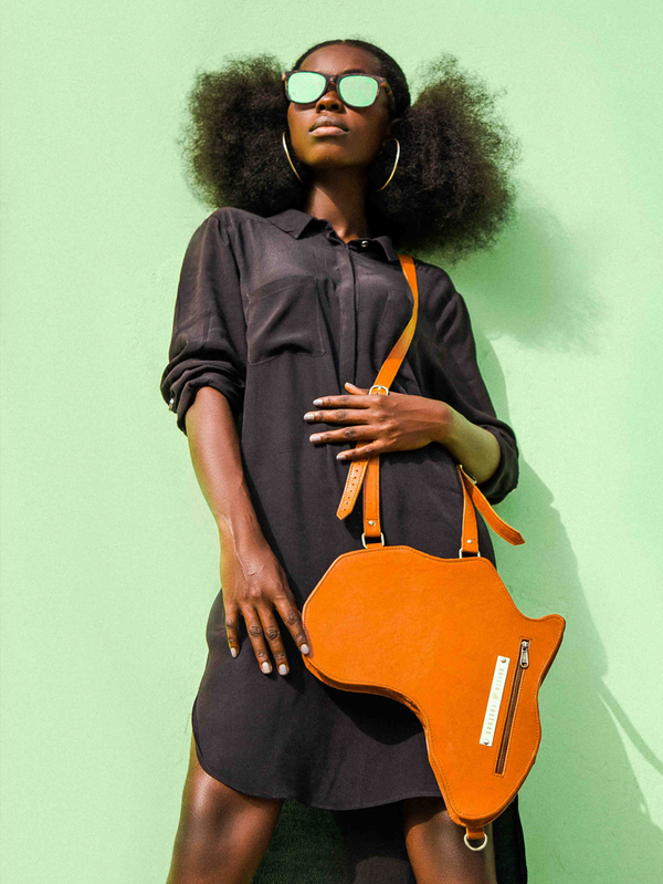 Africa shaped Bag / Backpack- Brown Leather (L) | Alkebulan Collection - by Orijin Culture
