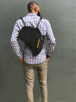 Africa Bag / Backpack - Black Leather (L) | Alkebulan Collection. - by Orijin Culture