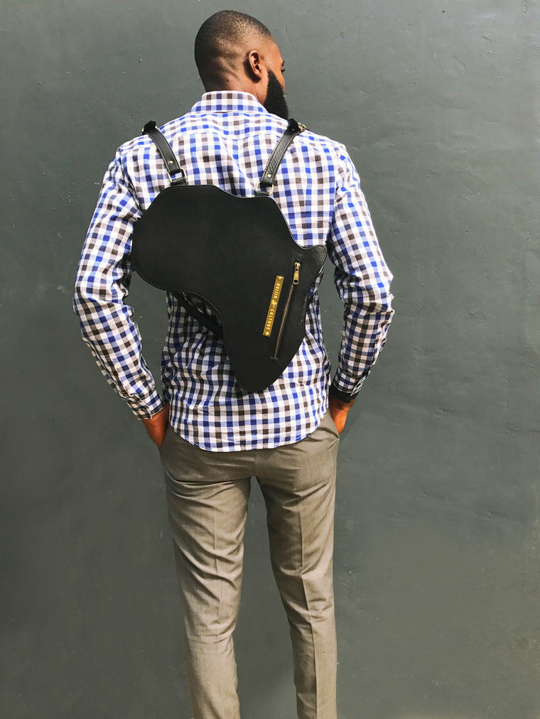 Africa Bag / Backpack - Black Leather (L) | Alkebulan Collection. - SHOP | Orijin Culture