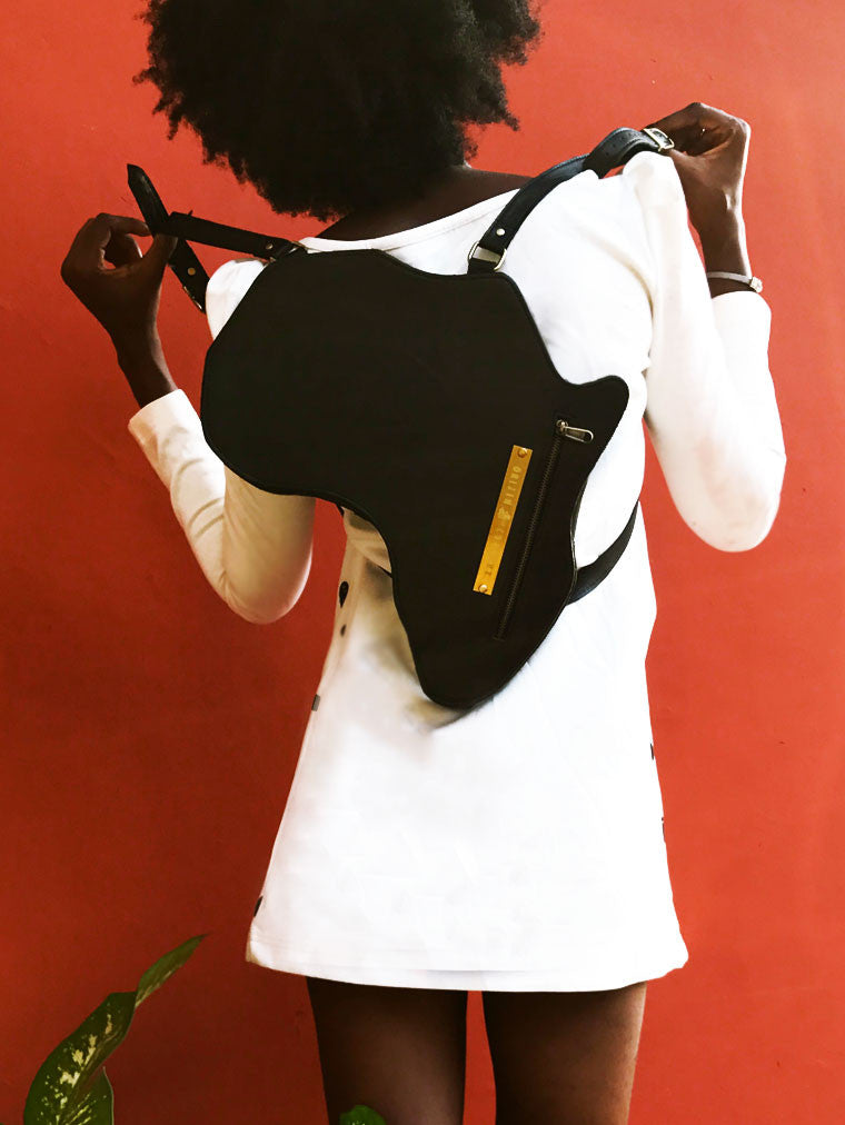 Africa Bag / Backpack - Black Leather (M) | Alkebulan Collection - by Orijin Culture