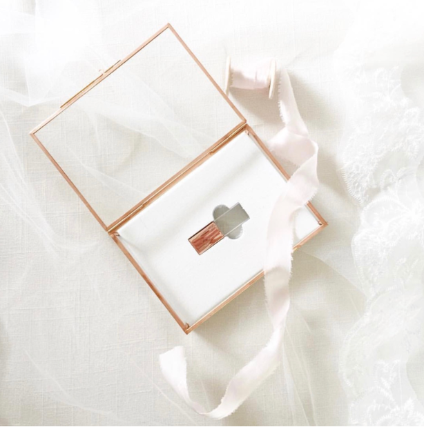 ROSE GOLD Glass Sets • 4x6 proof box with a matching 16gb Crystal flash drive and Inlay