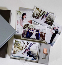 Load image into Gallery viewer, Grey linen 4x6 proof and Crystal USB box