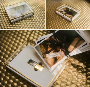 GOLD Glass Sets • 4x6 proof box with a matching 16gb Crystal flash drive and Inlay