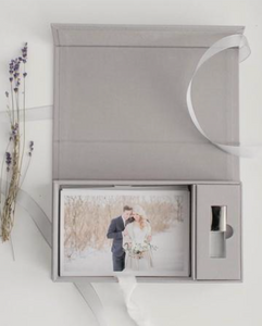 Grey Linen Set • 4x6 Proof box with a 16gb flash drive