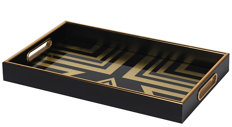 Gold and Black Retro Style Tray