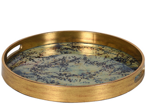 Gold Round Bloom Tray