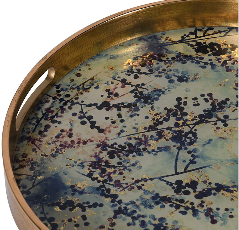 Round  Brushed Gold Bloom Tray