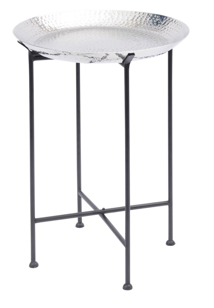 Hammered Silver Aluminium Side Tray Table.