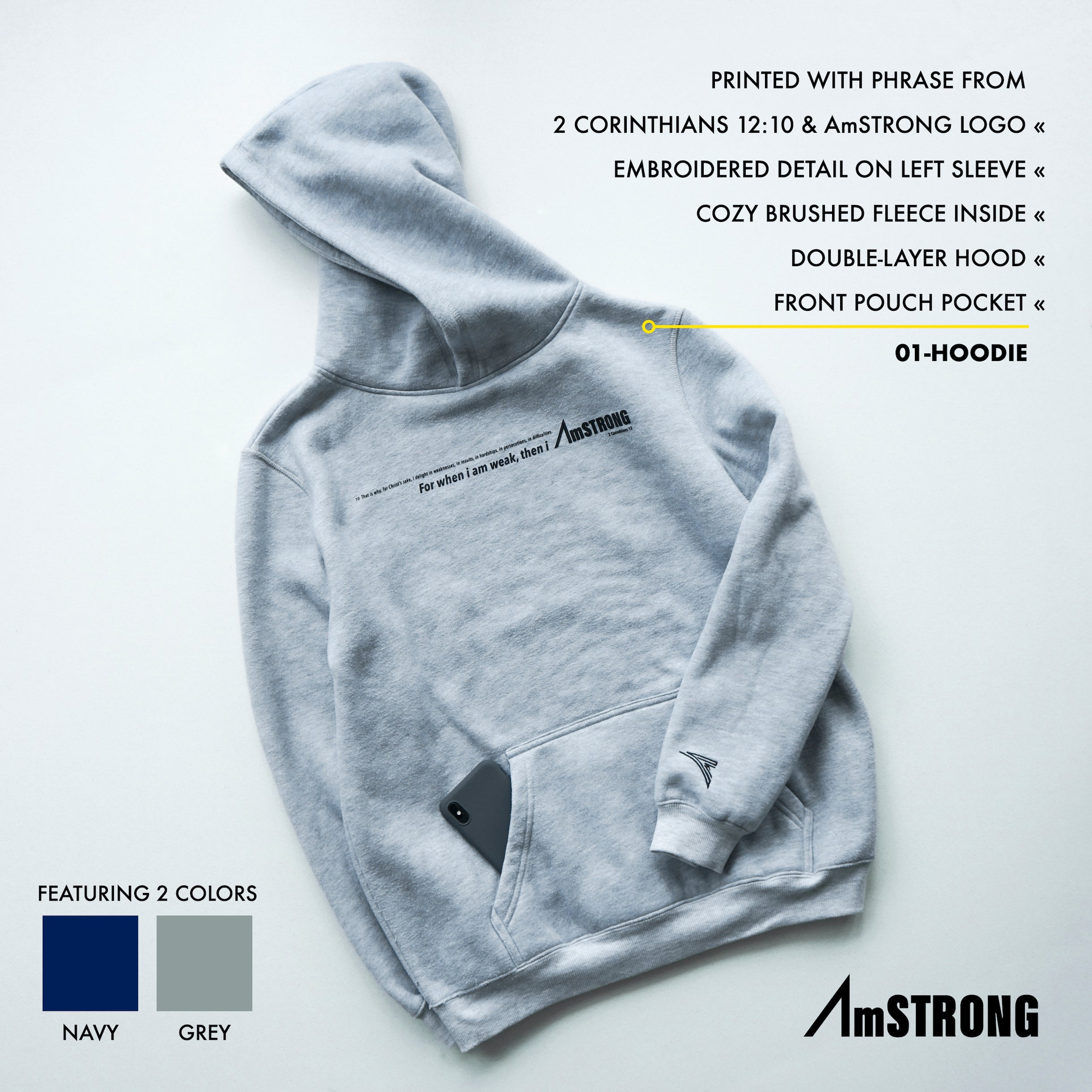 AmSTRONG | 01-HOODIE GREY