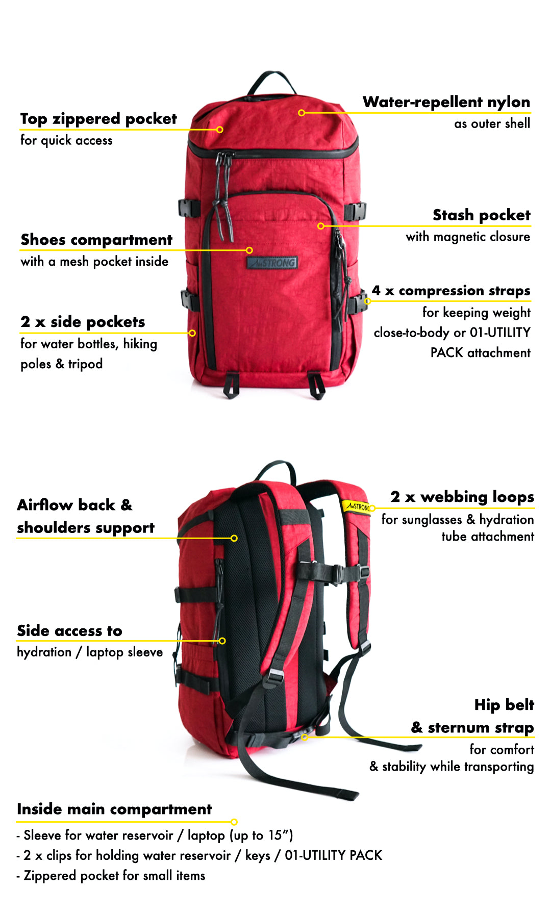 AmSTRONG | 01-RUCKSACK WE Maroon Red