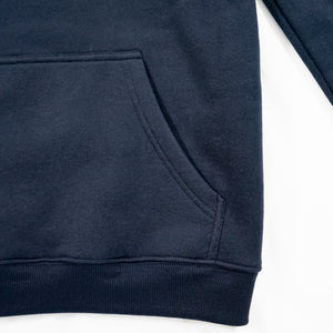 navy blue hoodie with a kangaroo pocket