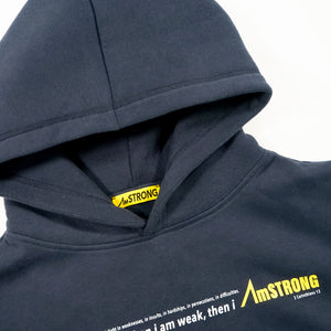navy blue hoodie with yellow details