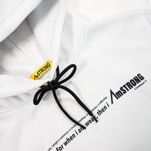 Load image into Gallery viewer, white hoodie with a contrast statement print and drawstring