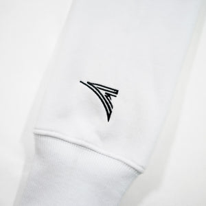 white sleeve with black embroidered logo