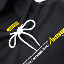 Load image into Gallery viewer, black hoodie with a AmSTRONG yellow tag