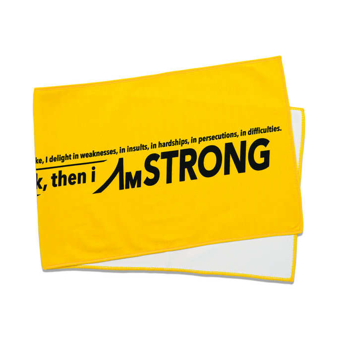 AmSTRONG yellow sport towel with black statement print