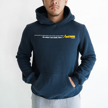 Load image into Gallery viewer, man in navy blue hoodie with his hands inside the kangaroo pocket