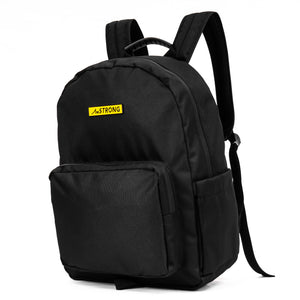 AmSTRONG black backpack with a yellow metallic label