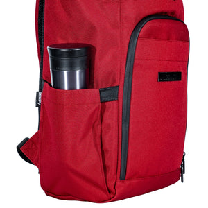 red backpack with water bottle pockets