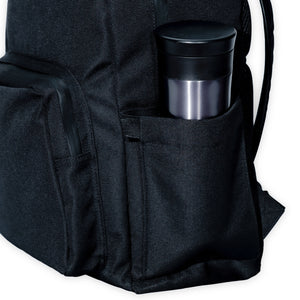 black backpack with a water bottle pocket
