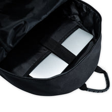 "Load image into Gallery viewer, black backpack with a 15"" laptop sleeve"