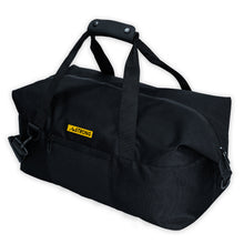 Load image into Gallery viewer, AmSTRONG black sport duffel with zip closure and soft top handle