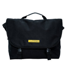 Load image into Gallery viewer, AmSTRONG black crossbody bag with a yellow metallic label