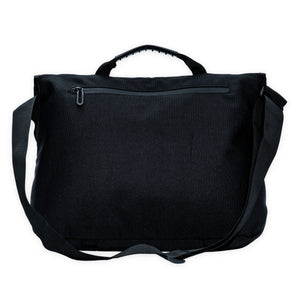 zipped pocket at the back of a black crossbody bag