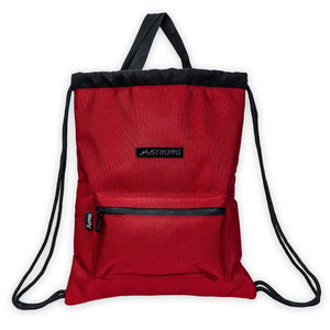 red drawstring bag with a front pocket and top handles