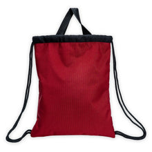 Load image into Gallery viewer, back of a red drawstring bag