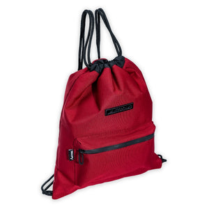 red drawstring bag with black trims