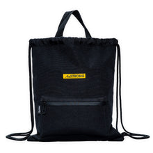 Load image into Gallery viewer, AmSTRONG black drawstring bag with top handles and a front pocket