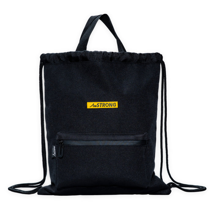 AmSTRONG black drawstring bag with top handles and a front pocket