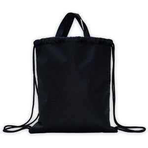black drawstring bag with top handles