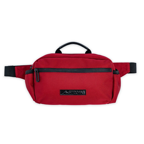 AmSTRONG red belt bag with black trims and a metallic label