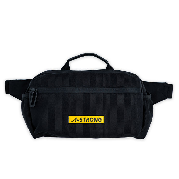 AmSTRONG black belt bag with top handle and yellow metallic label