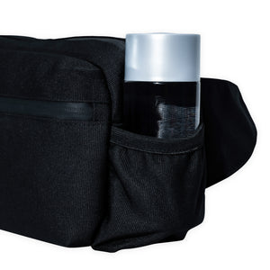 black belt bag with water bottle pockets