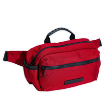 Load image into Gallery viewer, AmSTRONG red belt bag with black trims and a metallic label
